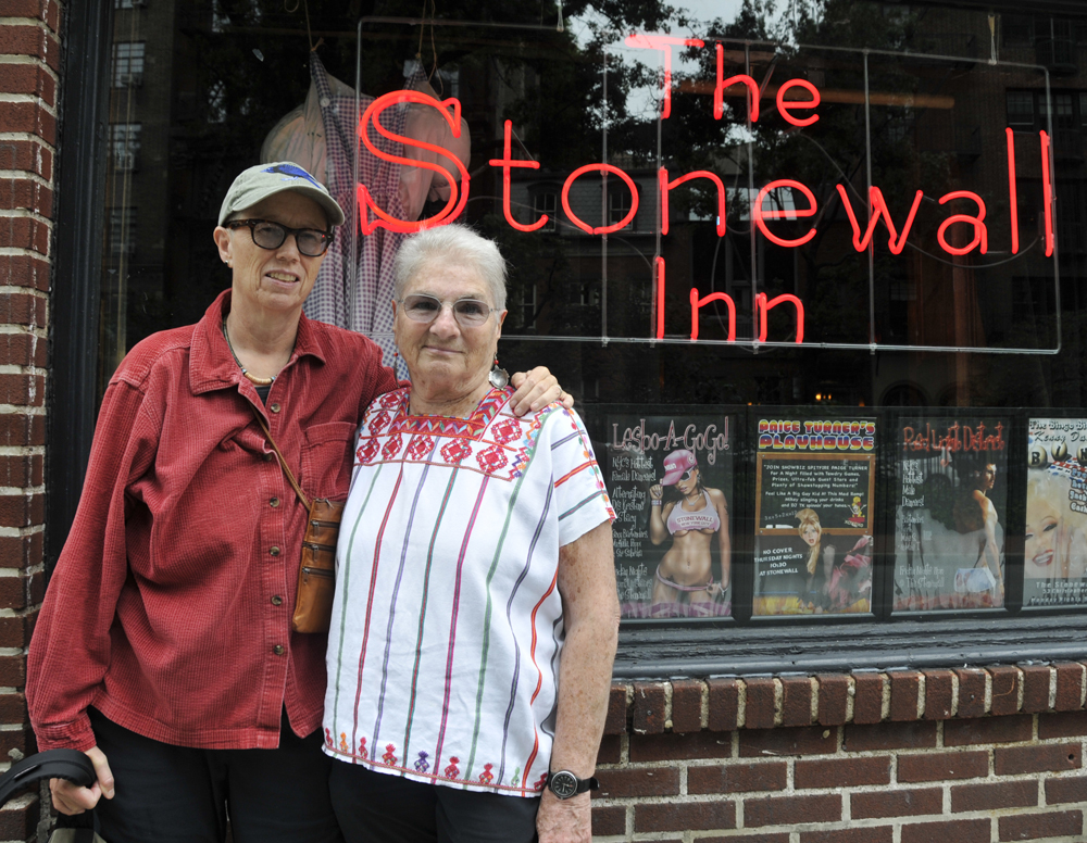 Barbara Byers and Margaret Randall, at The Stonewall Inn, New York City (...)