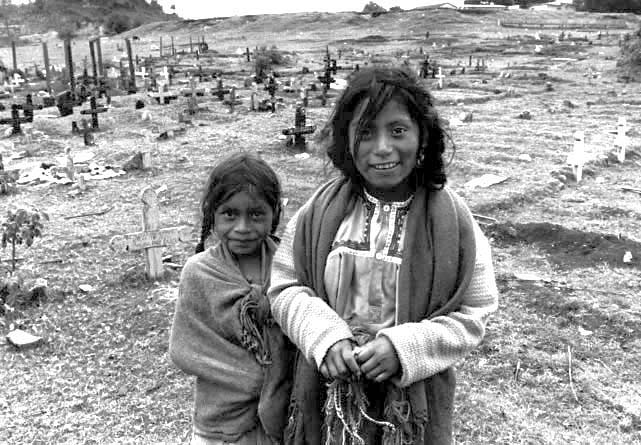 Sisters at Graveyard, Chiapas, Mexico