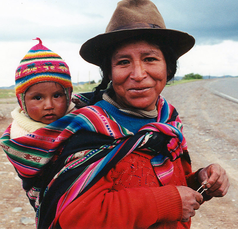 Mother and Child on Highway, Peru