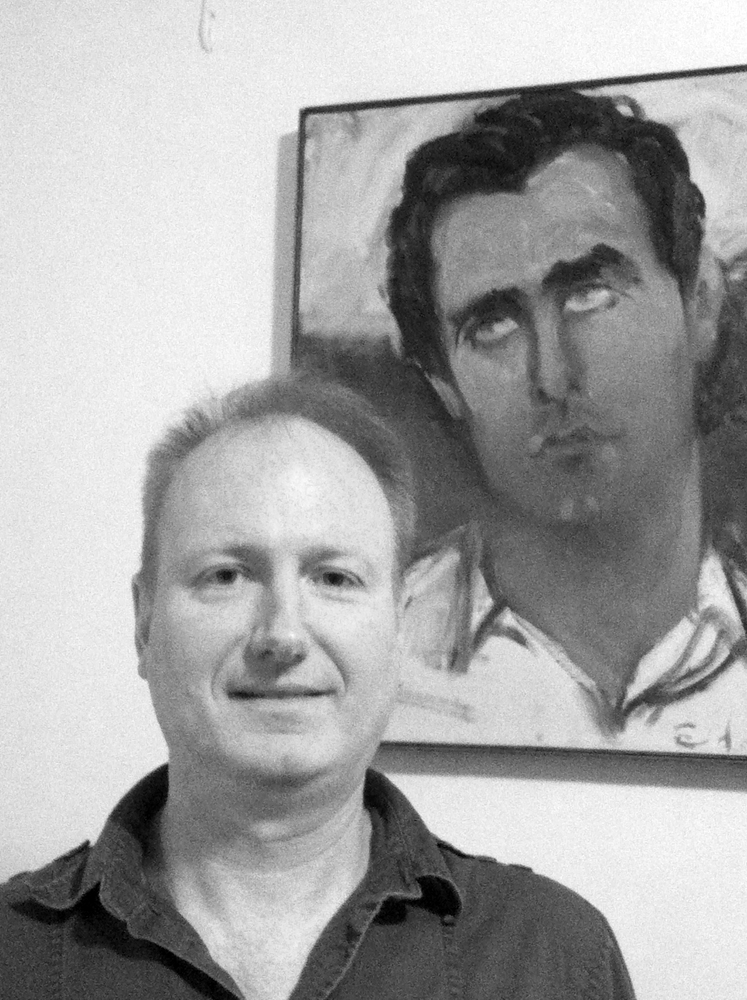 Tim Keane 2013 with portrait of Robert Corliss by Elaine de (...)