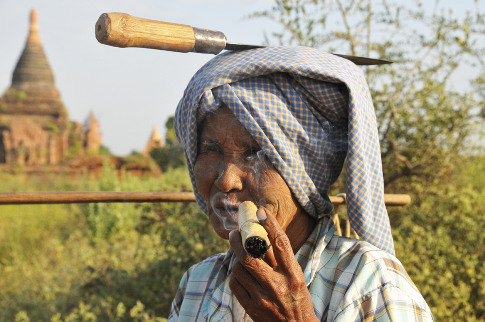 Woman with Knife and Cigar, Bagan, Myanmar 2011