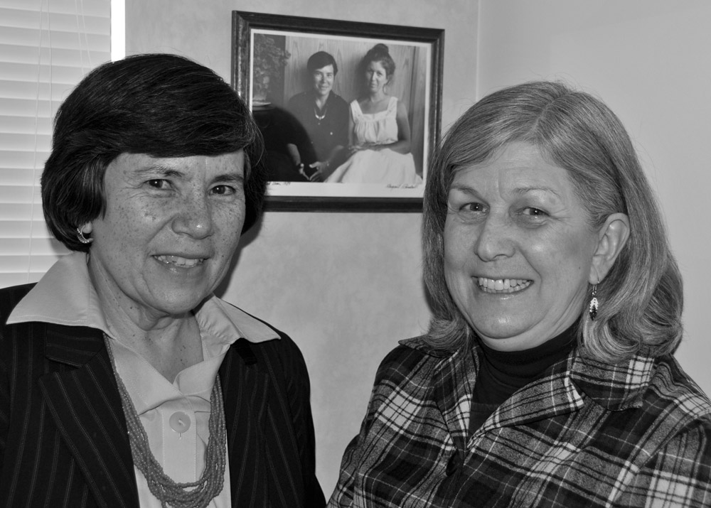Janice Gould and Mimi Wheatwind with Early Portrait, March 2010