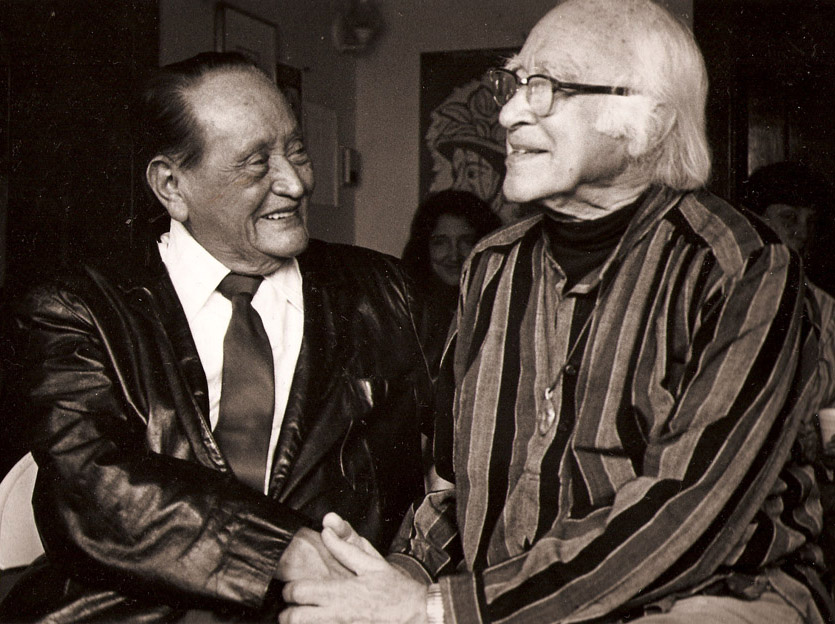 Miguel Marmol and George Wald, at Curbstone Press, 1980s